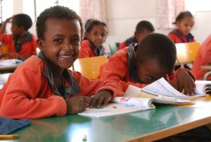 Schoolchildren in Ethiopia. Photo Credit: Niamh Burke with permission from Basic Education Coalition