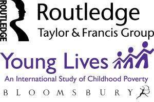 Routledge, Young Lives , Bloomsbury logos