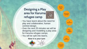 Workshop slide with challenge to deign a play area for a refugee camp