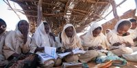 Schools in Kabkabiya  11 December 2012. Kabkabiya: Students taking classes in one of the old rooms in poor conditions of the Al Salam Basic School for Girls in Kabkabiya, North Darfur. The UNAMID Rwandan Battalion 31 built 2 new classes for the center as a Quick Impact Project in 2011.  This school has over 2,000 students (mostly residents in camps for Internally Displaced Persons). Many students don't have proper conditions to take classes yet and more concrete buildings are needed. Most of the classes are currently attended by over 100 students each and there is no chairs and tables for everyone.  Photo by Albert González Farran, UNAMID.