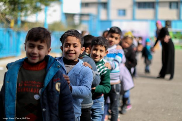 Palestine refugee  students on their first day in UNRWA schools in the second semester in Gaza. © 2017 UNRWA Photo by Rushdi Sarraj