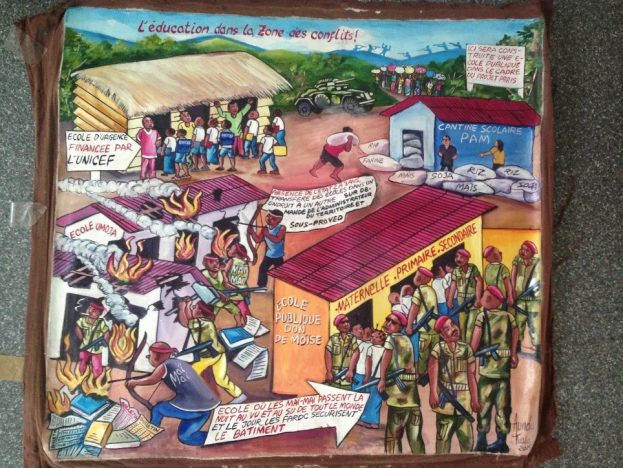 The canvas was commissioned by the author, Cyril Owen Brandt on Kinshasa's art market and represents aspects that occurred in his research. It was drawn by Aundu Kiala.