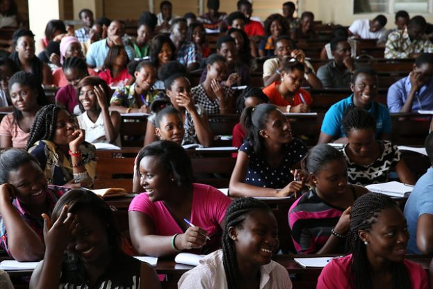 University of Ghana students listen to their political science professor, Dr. Evans Aggrey-Darkoh in Accra, Ghana on October 14, 2015. Photo © Dominic Chavez/World Bank