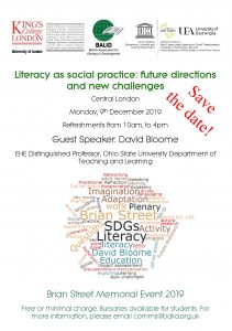 Save the date! - Literacy as social practice: future directions and new challenges