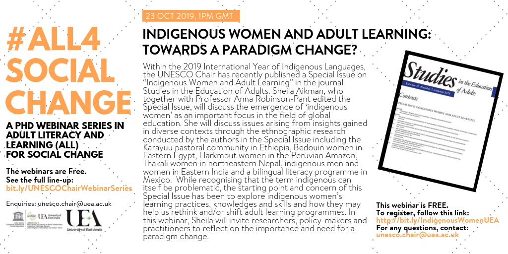 #ALL4SOCIALCHANGE Webinar on Indigenous Women and Adult Learning