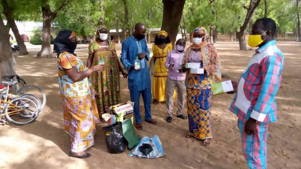 A group of teacher from cameroon with masks