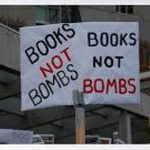 Books not bombs placard