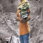 Child with books in bomb site