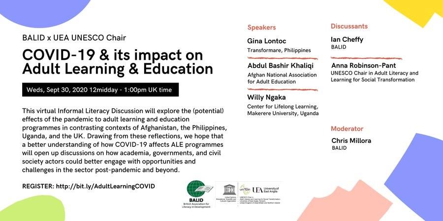 Promotion poster for webinar with speaker names: Gina Lontoc, Ian Cheffy, Abdul Bashir Khaliqi, Anna Robinson-Pant and Willy Ngaka. Moderator Chris Millora