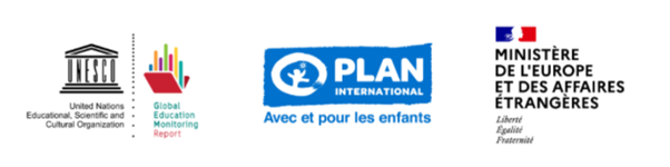Series of logos including GEMR UNESCO, Plan France and French Ministry of Europe and Foreign Affairs
