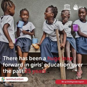GEM image happy African school girls, some with disability #Iamthe1stGirl, 2020 Gender report