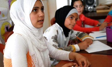Syrian girls in classroom
