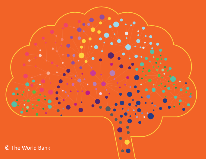 Screen shot of World Bank Document - Cost Effective Approaches to Improve Global Learning - what does recent Evidence show. Brain shape with coloured dots