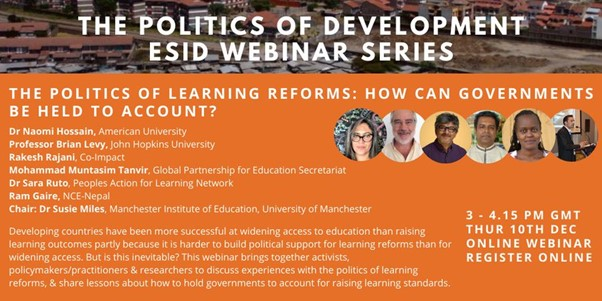 ESID webinar - The politics of learning reforms: How can governments be held to account?