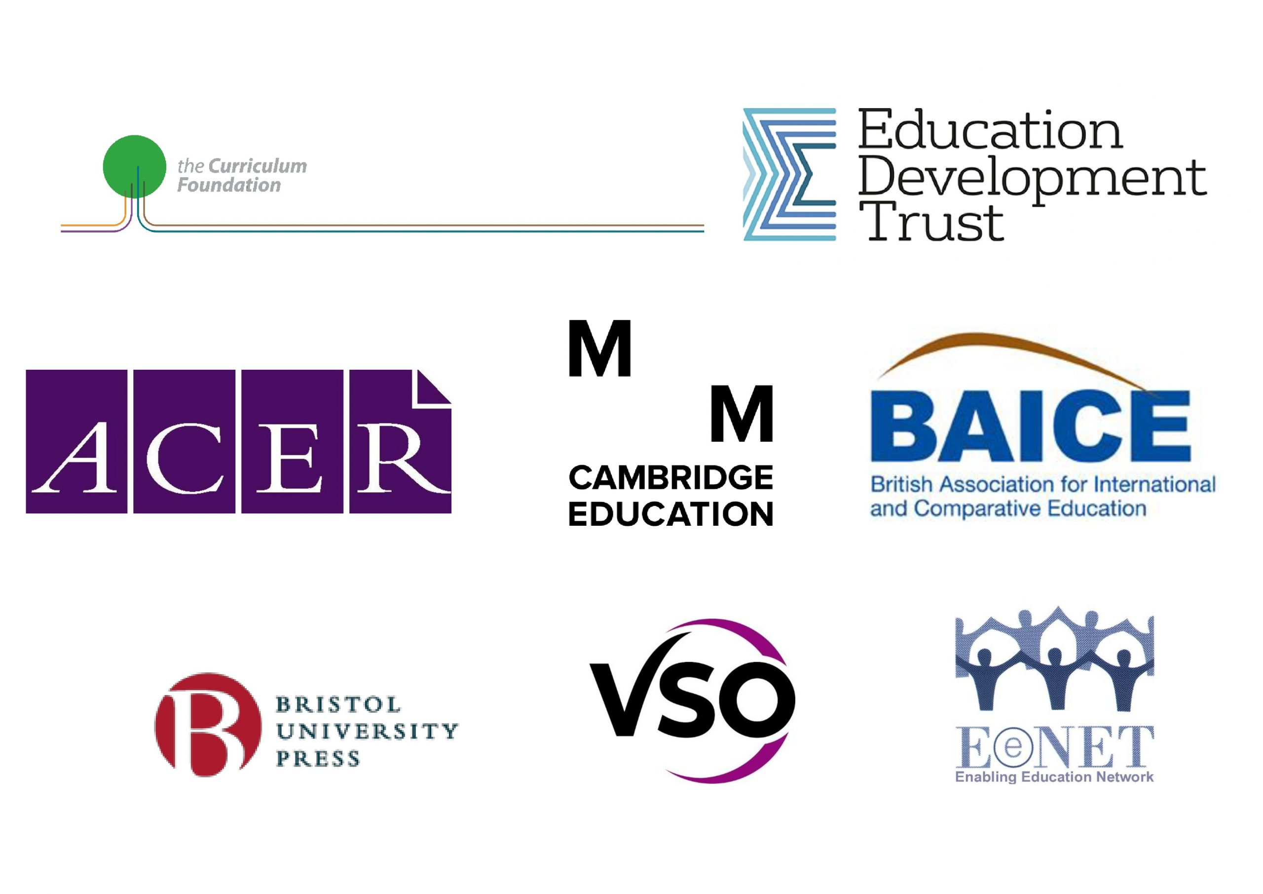 Logos of Exhibitors and sponsors at the Conference: Curriculum Foundation, Education Development Trust, ACER, Cambridge Education, BAICE, Bristol University Press, VSO and EENET