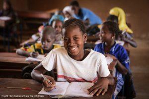Aissata, aged 11, at school in Mopti region, Mali.