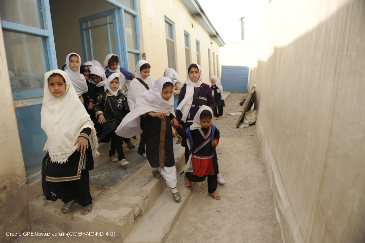 Girls at Ayno Meena Number Two school in the city of Kandahar, Afghanistan.
