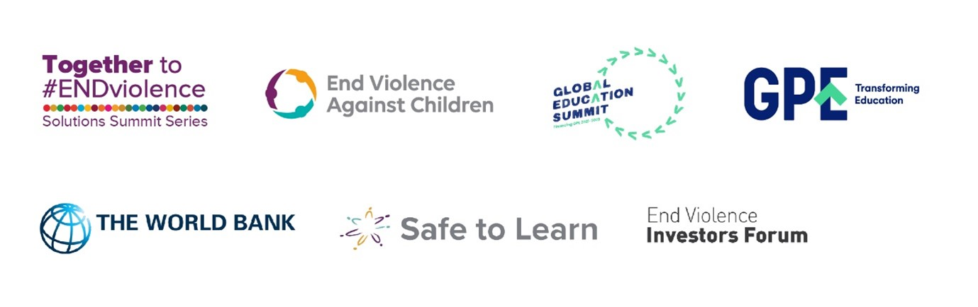 Logos of organisations involved in the session. End Violoence against Children,  Global Education Summit,  GPE, The World Bank, Sofe to Learn, End Violence Investors Forum