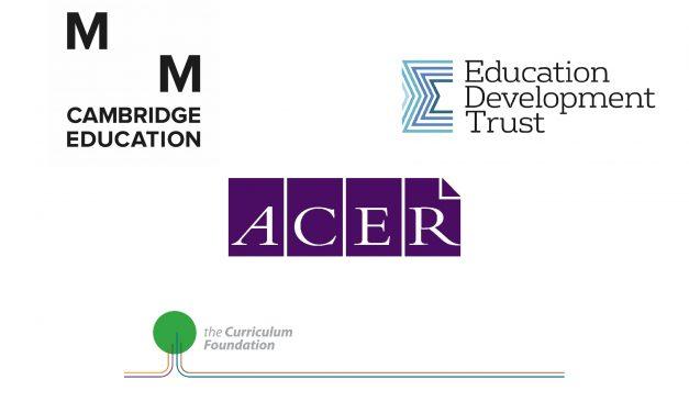 Logos of conference theme sponsors: Cambridge Education, Education Development Trust, ACER, Curriculum Foundation