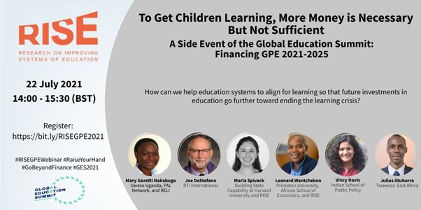 'To Get Children Learning, More Money is Necessary But Not Sufficient': A Side Event of the Global Education Summit: Financing GPE 2021-2025