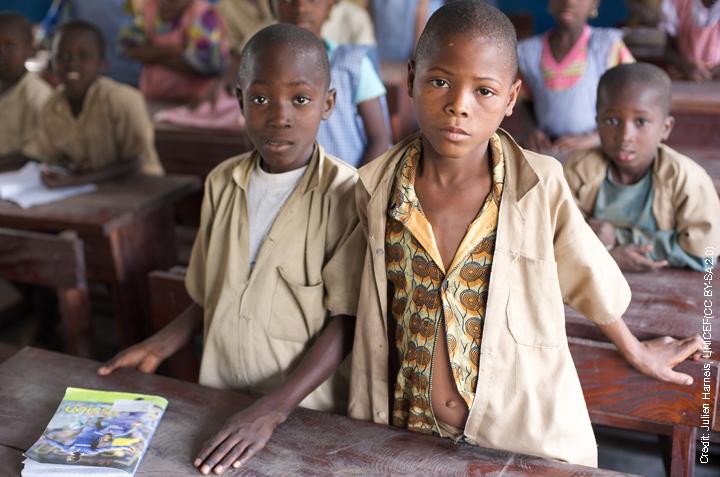 Boys in rural classroom in Mali