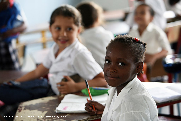 School girls in class in Columbia