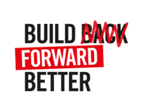 """Build Forward Better logo   The word """"BACK"""" is scribbled out"""