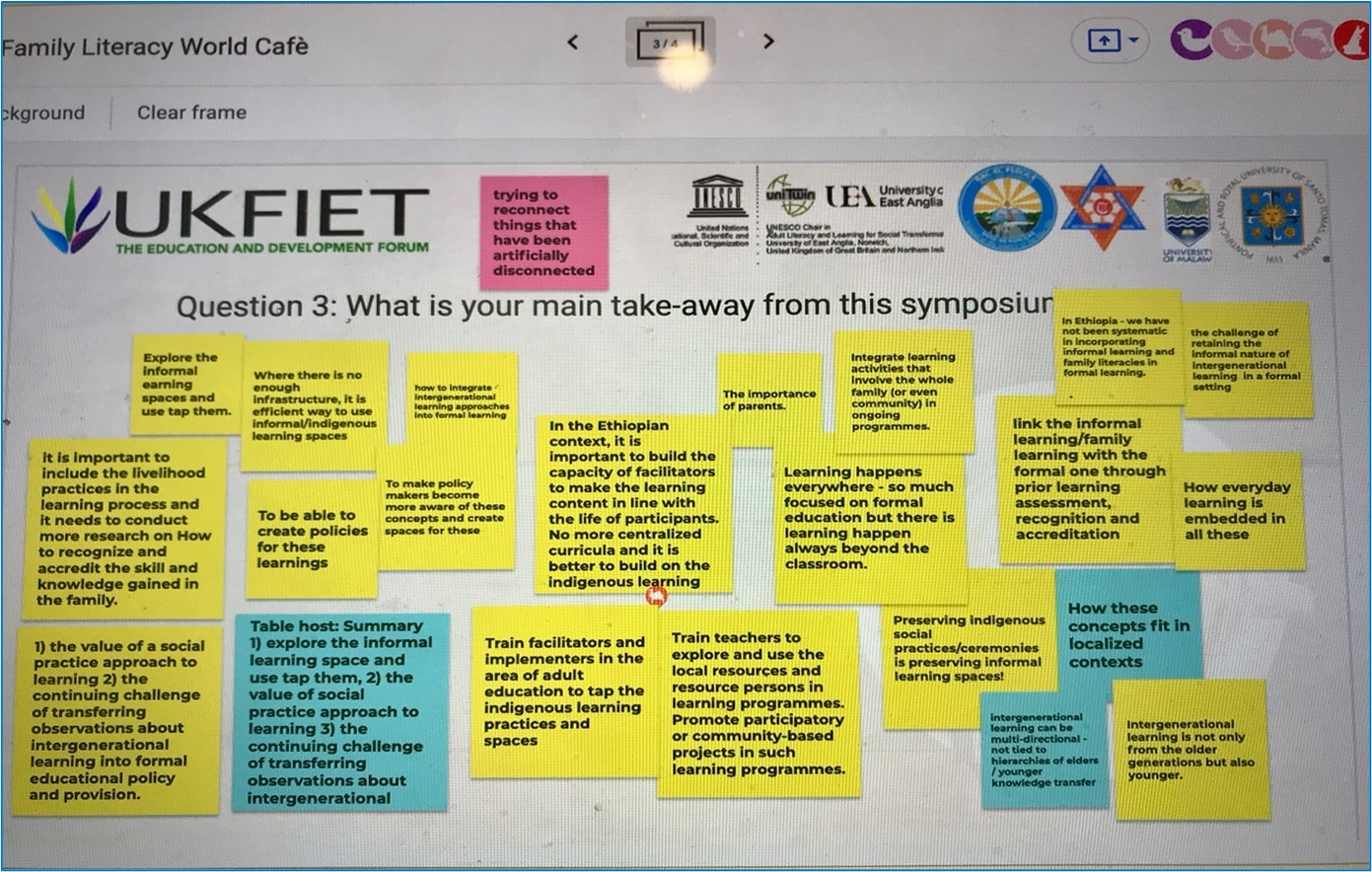 A screen shot of the padlet created during the World Cafe in the session
