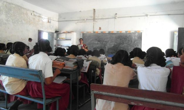 Classroom of female students in Southern India.