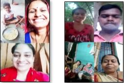 Screen shots of a virtual mother's meeting with various faces