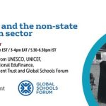 Poster Advertising the report launch with Education Development Trust and Global Schools Forum logos