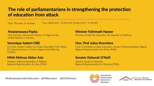 The role of parliamentarians in strengthening the protection of education from attack